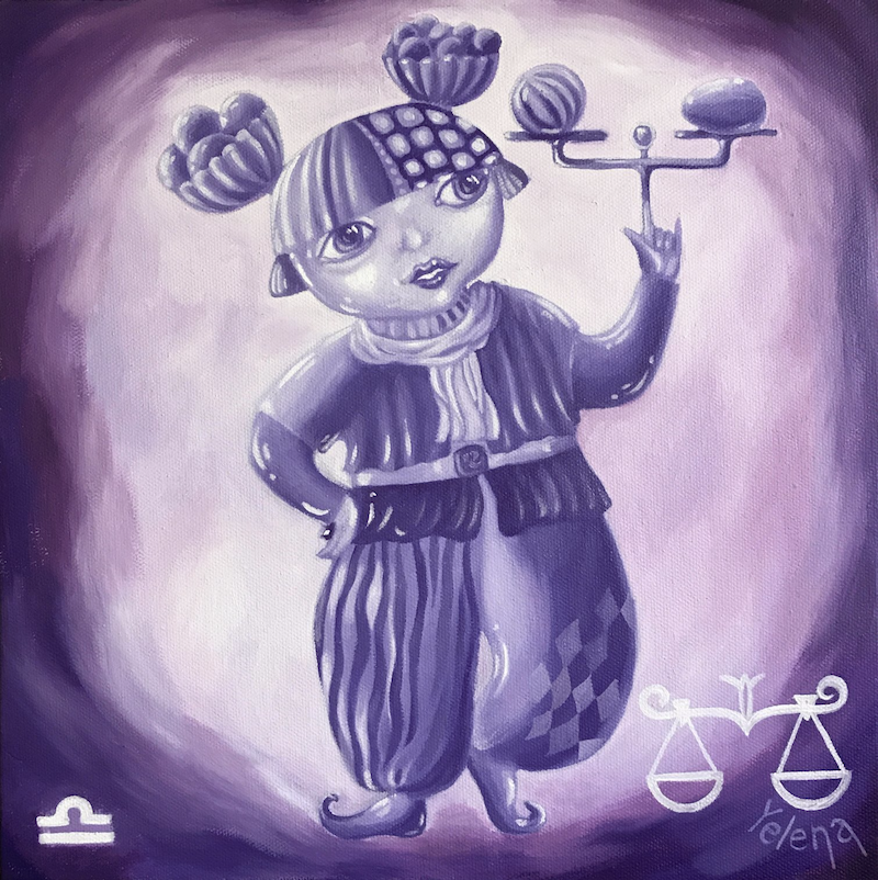 (CreativeWork) Libra: The Scales by Yelena Revis. Oil Paint. Shop online at Bluethumb.