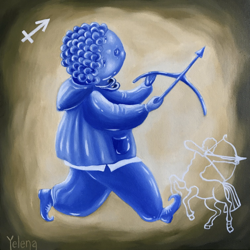 (CreativeWork) Sagittarius: The Archer by Yelena Revis. Oil Paint. Shop online at Bluethumb.