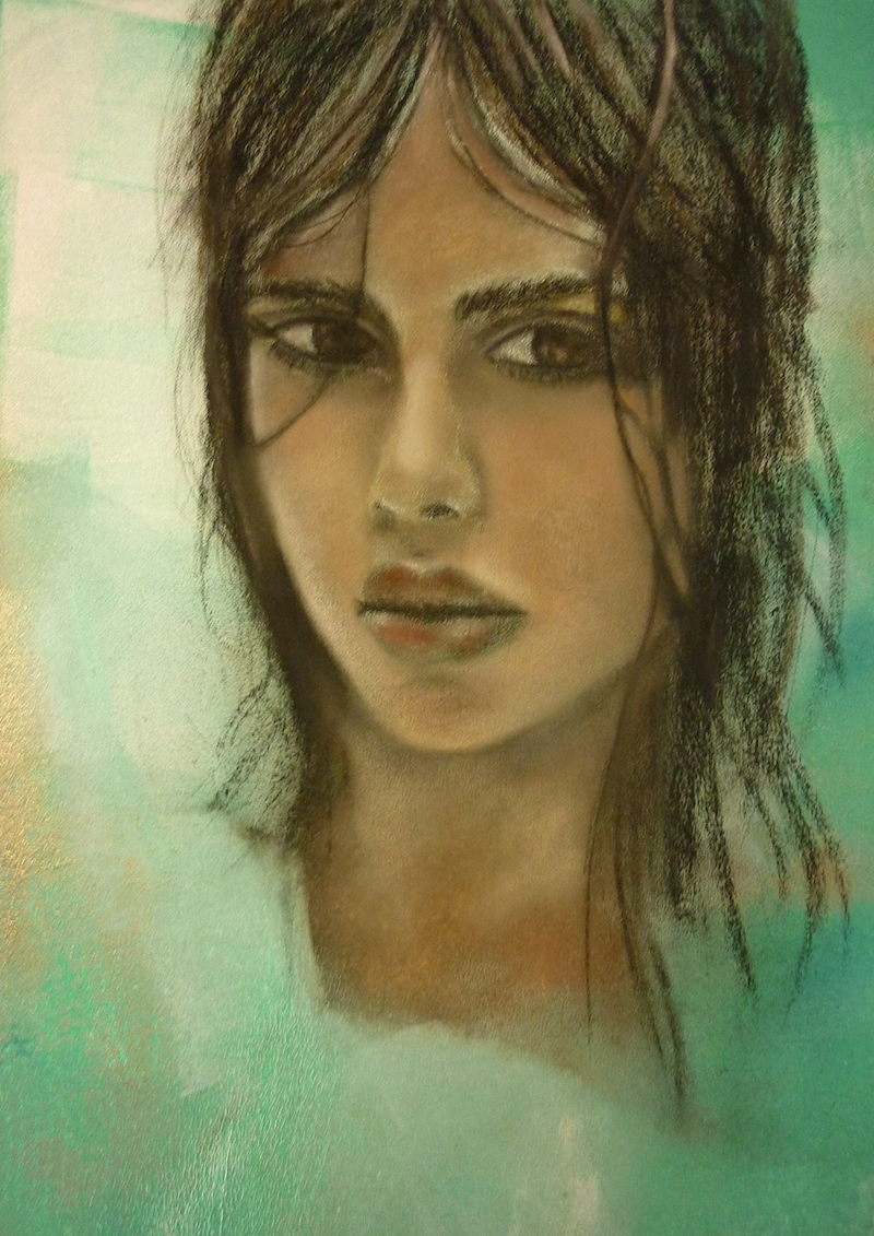 """(CreativeWork) """"Sam"""" by Cate Townsend. Mixed Media. Shop online at Bluethumb."""