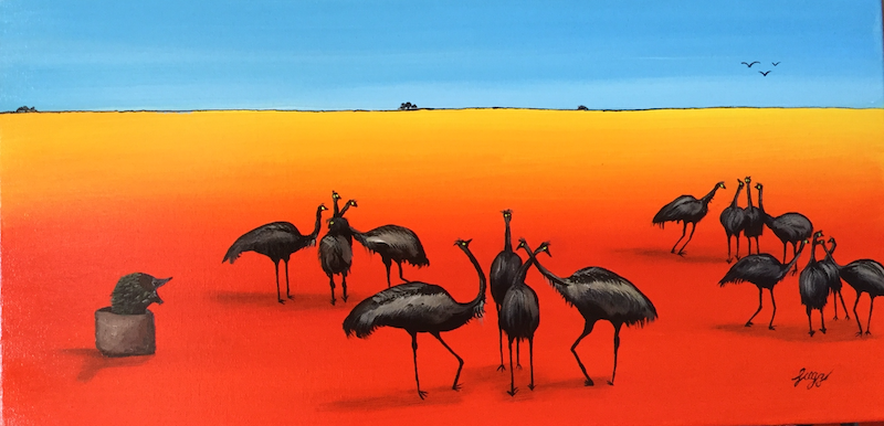 (CreativeWork) Desert dancing by Geoff Lugg. Acrylic Paint. Shop online at Bluethumb.