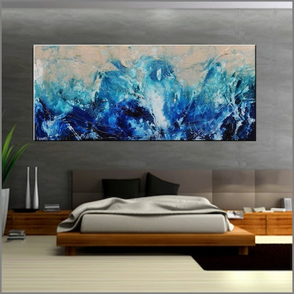 (CreativeWork) Washed Reef HUGE  240cm x 100cm  Texture FRANKO blue Ocean  by _Franko _. Acrylic Paint. Shop online at Bluethumb.