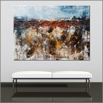 (CreativeWork) Oxide Landscape 140cm x 100cm  Blue Orange ochre Textured Acrylic Abstract Gloss Finish FRANKO by _Franko _. Acrylic Paint. Shop online at Bluethumb.
