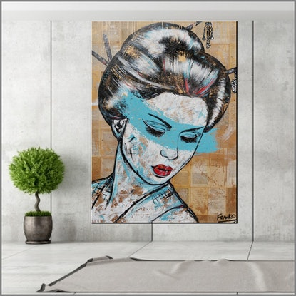 (CreativeWork) Sakura Blue 140cm x 100cm FRANKO Memoirs of a Geisha real book pages on Canvas No further framing needed by _Franko _. Acrylic Paint. Shop online at Bluethumb.