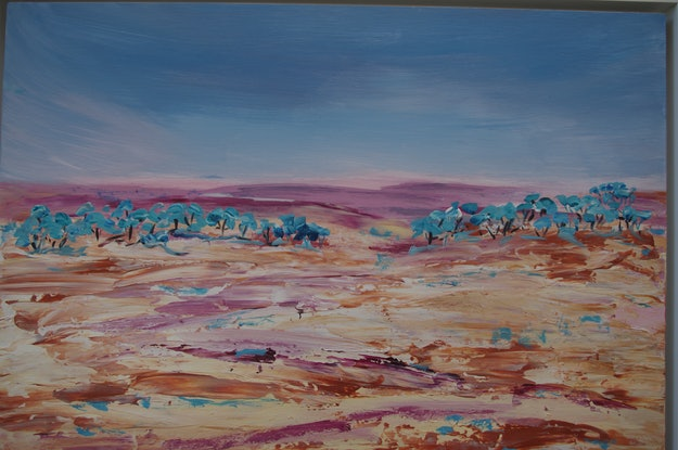 (CreativeWork) Australian- Looking to go Inland by Laurie Jean Cochrane. Acrylic Paint. Shop online at Bluethumb.
