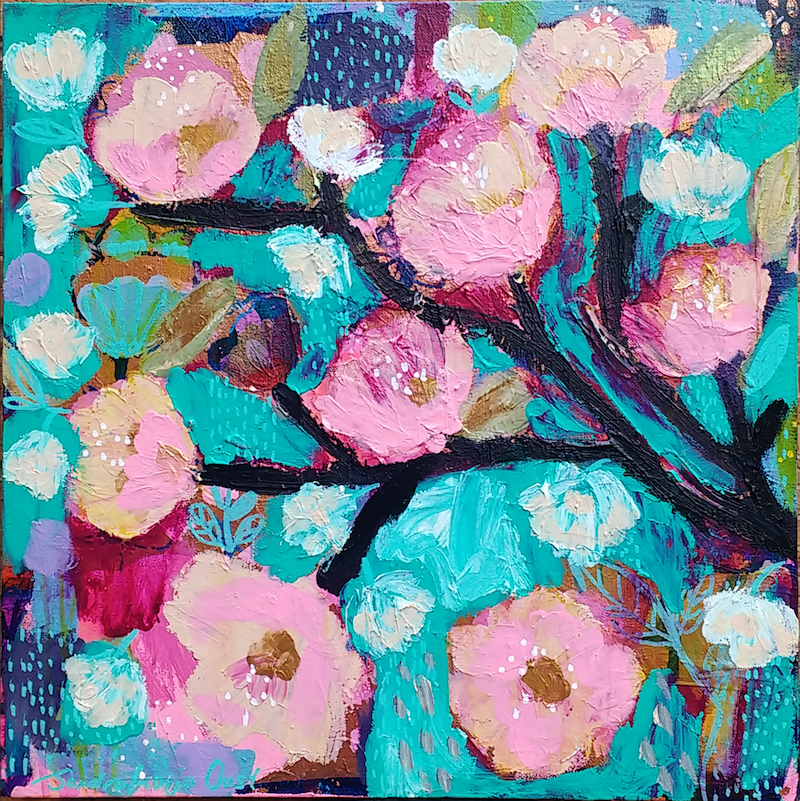 (CreativeWork) Cherry Blossom by Sandra Oost. Acrylic Paint. Shop online at Bluethumb.