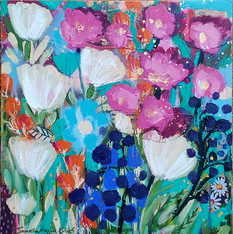(CreativeWork) Pink and Blue by Sandra Oost. Acrylic Paint. Shop online at Bluethumb.