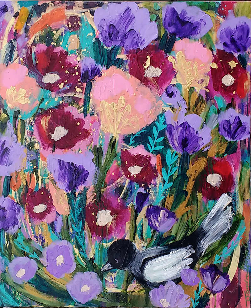(CreativeWork) Magpie in the Garden by Sandra Oost. Acrylic Paint. Shop online at Bluethumb.