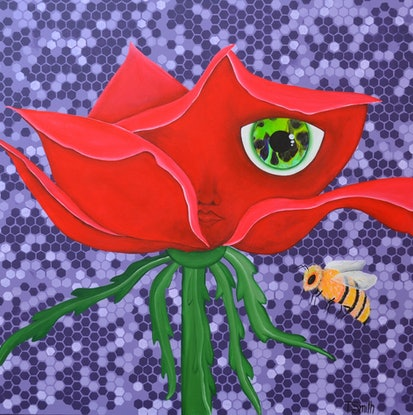 (CreativeWork) ORIGINAL Pollinated  from Connected Series  by Tanya Smith. Acrylic Paint. Shop online at Bluethumb.
