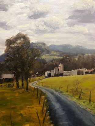 (CreativeWork) Dairy Farm at Kangaroo Valley by Adam Mulcahy. Oil Paint. Shop online at Bluethumb.