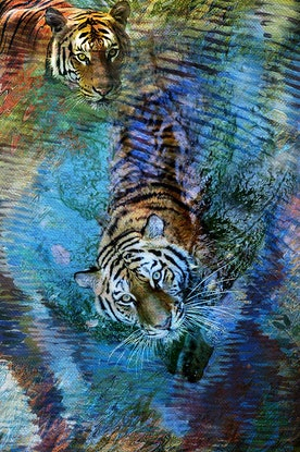(CreativeWork) Water Tigers by Gerard Mignot. Oil Paint. Shop online at Bluethumb.