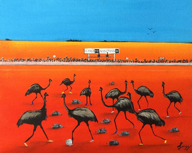 (CreativeWork) Desert soccer  by Geoff Lugg. Acrylic Paint. Shop online at Bluethumb.