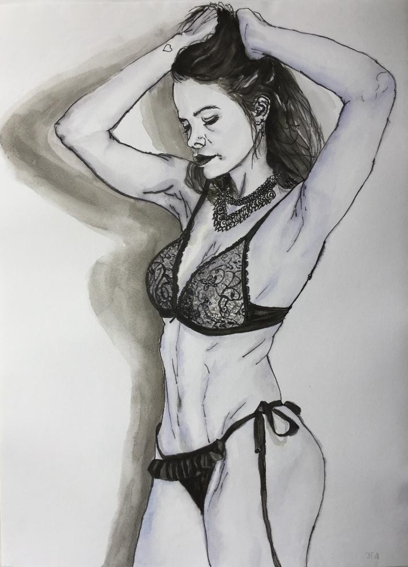 (CreativeWork) Chic figure  by Jing Tian. Drawings. Shop online at Bluethumb.