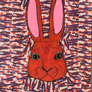 (CreativeWork) Angry Rabbit by Sally Dunbar. mixed-media. Shop online at Bluethumb.