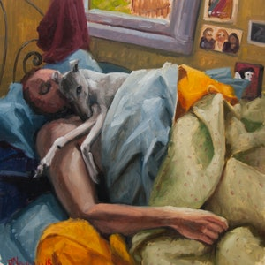 (CreativeWork) Self Portrait, Sunday Morning by James Needham. oil-painting. Shop online at Bluethumb.