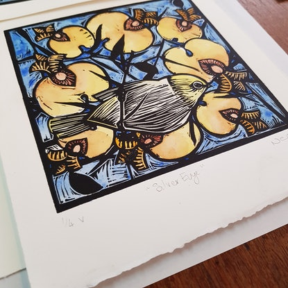 (CreativeWork) Silver Eye Handcoloured Linocut Ed. 4 of 4 by Nicola Cowie. Print. Shop online at Bluethumb.