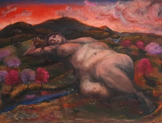 (CreativeWork) Laying by Mount Canobolas by Jake Fiene. Oil Paint. Shop online at Bluethumb.