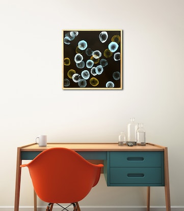 (CreativeWork) Orbicular Bloom III – Original Painting Framed by Jacquelyn Stephens. Mixed Media. Shop online at Bluethumb.