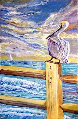 (CreativeWork) Pelican on the lookout by Gerard Mignot. Oil Paint. Shop online at Bluethumb.