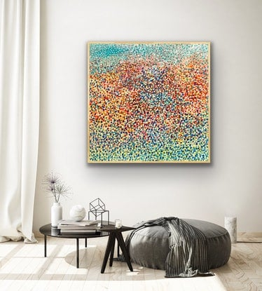 (CreativeWork) Fireworks of Confetti . FRAMED  by Theo Papathomas. Acrylic Paint. Shop online at Bluethumb.