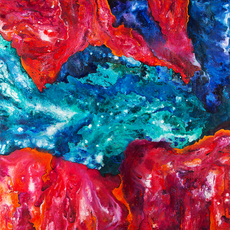 (CreativeWork) Entropy (Red & Blue) by Gretta Hayward. Acrylic Paint. Shop online at Bluethumb.