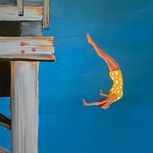 (CreativeWork) Jetty diving girl by Leah Dodd. acrylic-painting. Shop online at Bluethumb.