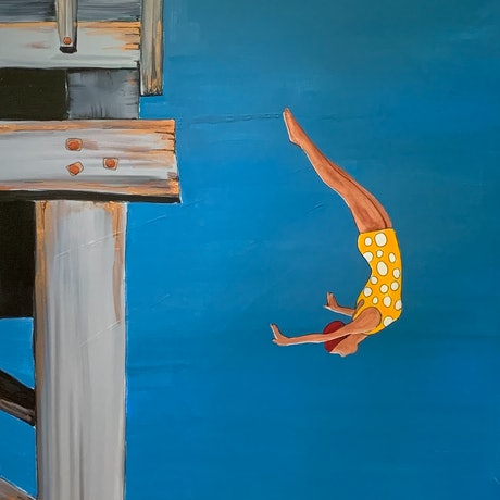 (CreativeWork) Jetty diving girl by Leah Dodd. Acrylic Paint. Shop online at Bluethumb.