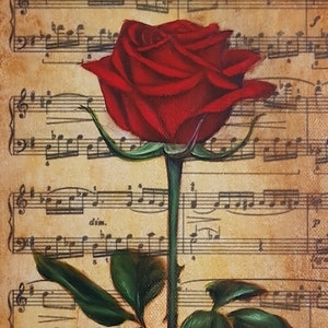 (CreativeWork) Music Rose I by Natasha Junmanee. mixed-media. Shop online at Bluethumb.