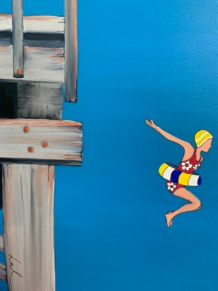 (CreativeWork) Jetty jump  by Leah Dodd. Acrylic Paint. Shop online at Bluethumb.