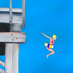 (CreativeWork) Jetty jump  by Leah Dodd. arcylic-painting. Shop online at Bluethumb.