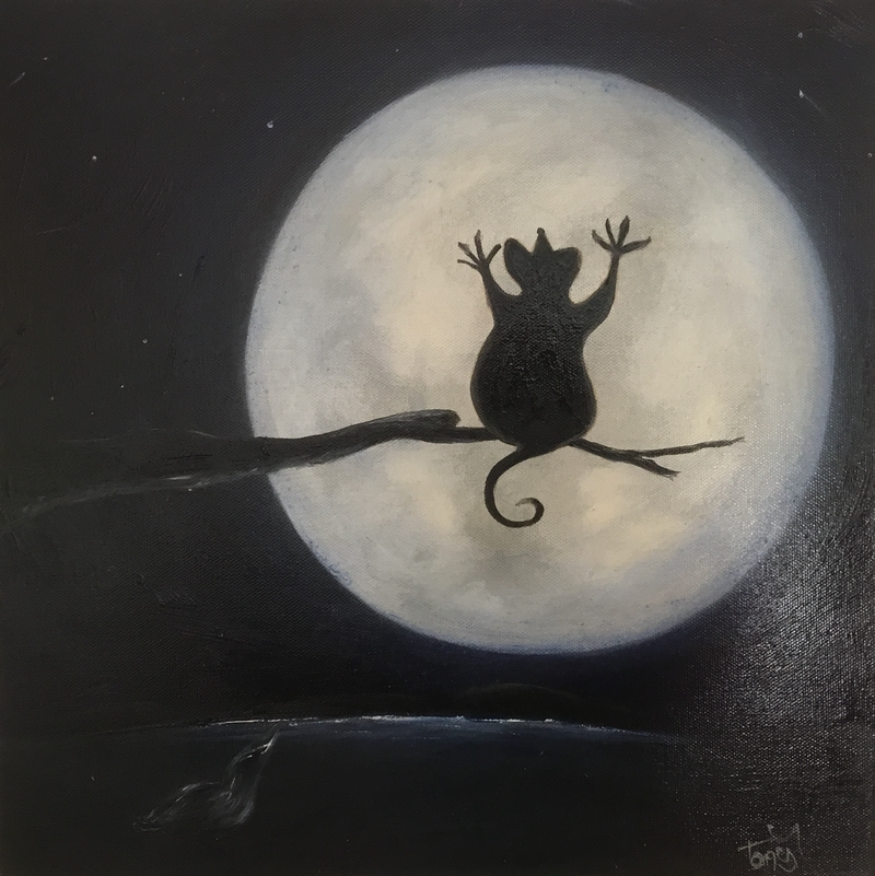 (CreativeWork) Silently the moon and I by Tony Yallop. Oil Paint. Shop online at Bluethumb.