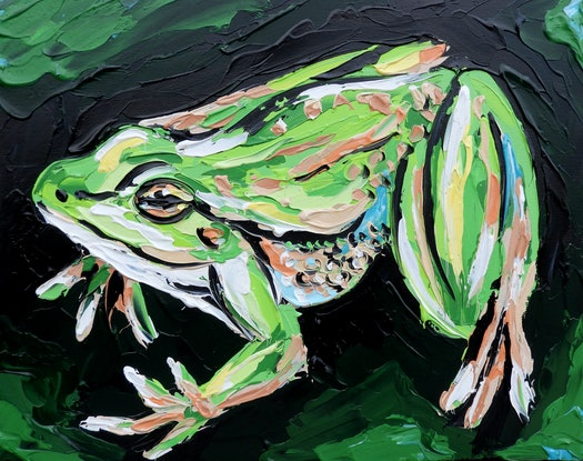 (CreativeWork) Frog - Quick Study by Lisa Fahey. Acrylic Paint. Shop online at Bluethumb.
