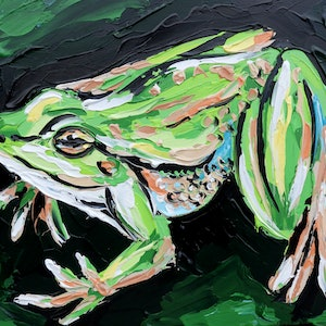 (CreativeWork) Frog - Quick Study by Lisa Fahey. arcylic-painting. Shop online at Bluethumb.