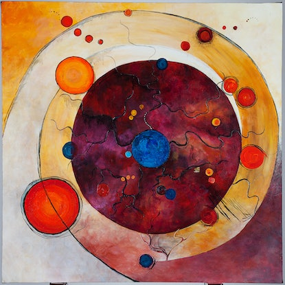 (CreativeWork) In the Begining by Gretta Hayward. Acrylic Paint. Shop online at Bluethumb.