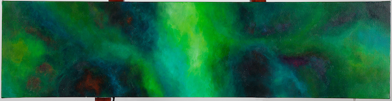 (CreativeWork) Into the Forest (Green) by Gretta Hayward. Acrylic Paint. Shop online at Bluethumb.