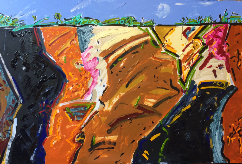 (CreativeWork) Harcourt Quarry by Ron Holden. Acrylic Paint. Shop online at Bluethumb.