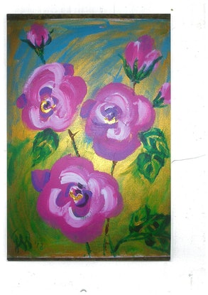 (CreativeWork) pink flowers by grace wilkinson. Acrylic Paint. Shop online at Bluethumb.