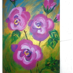 (CreativeWork) pink flowers by grace wilkinson. arcylic-painting. Shop online at Bluethumb.