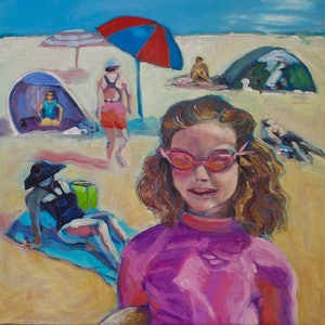 (CreativeWork) On the boogie, Freshwater Beach, Sydney by fiona smith. oil-painting. Shop online at Bluethumb.