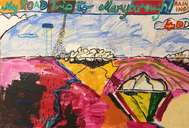 (CreativeWork) My Road Trip to Maryborough by Ron Holden. Acrylic Paint. Shop online at Bluethumb.
