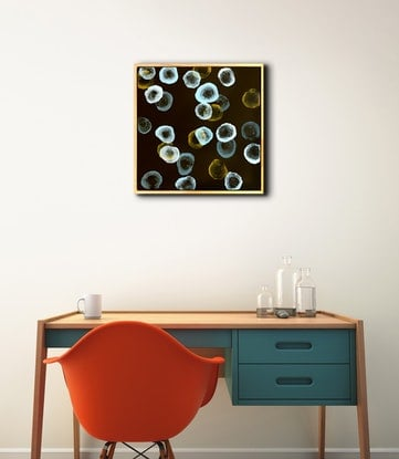 (CreativeWork) Orbicular Bloom II – Original Painting Framed by Jacquelyn Stephens. Mixed Media. Shop online at Bluethumb.