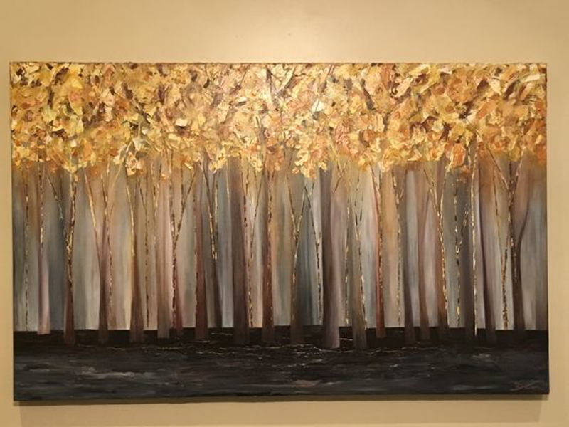 (CreativeWork) Golden TreeScape by Gretta Hayward. Acrylic Paint. Shop online at Bluethumb.