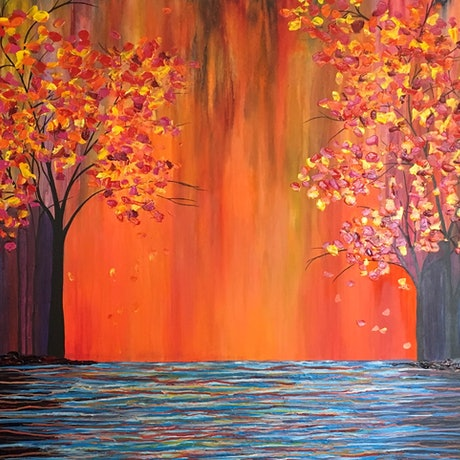 (CreativeWork) Autumn Sunset by Gretta Hayward. Acrylic Paint. Shop online at Bluethumb.