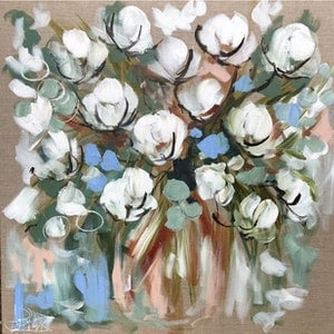 (CreativeWork) Country cotton bouquet  by Amanda Brooks. arcylic-painting. Shop online at Bluethumb.