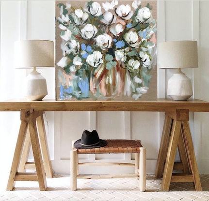 (CreativeWork) Country cotton bouquet  by Amanda Brooks. Acrylic Paint. Shop online at Bluethumb.