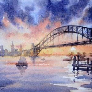 (CreativeWork) Sydney Harbour Theatrics by Chrysovalantou Mavroudis. watercolour. Shop online at Bluethumb.