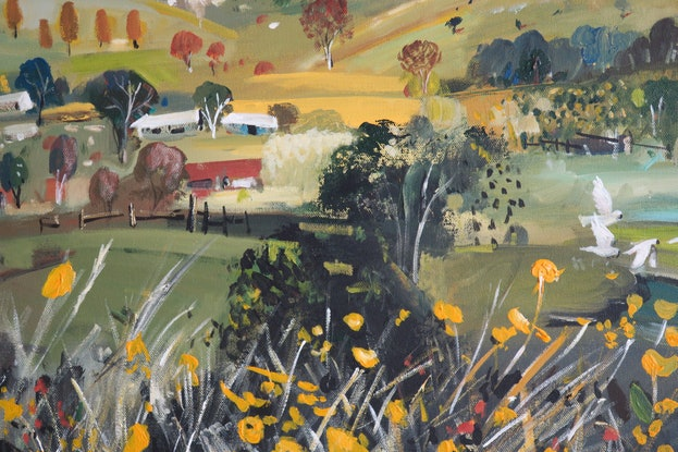 (CreativeWork) Landscape - Wild Flowers and Cockatoos by Susan Trudinger. Acrylic Paint. Shop online at Bluethumb.