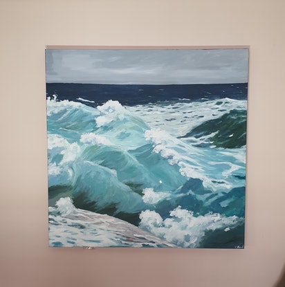 (CreativeWork) Waves 1 by Cristian Frost. Acrylic Paint. Shop online at Bluethumb.