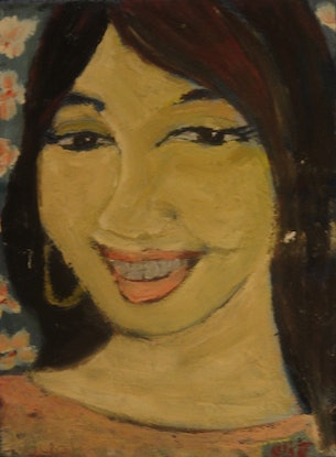 """(CreativeWork) """"Ayako"""" (73 of 230 mfl)  by elij foote. Oil Paint. Shop online at Bluethumb."""