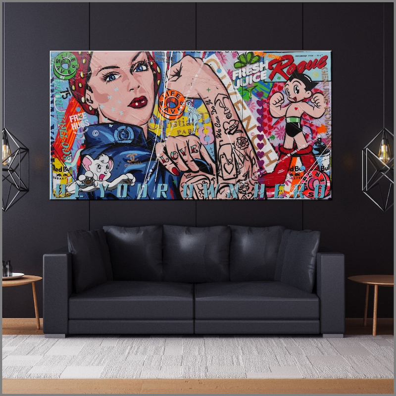 (CreativeWork) We can be Heroes 190cm x 100cm Rosie Pop art FRANKO  by _Franko _. Acrylic Paint. Shop online at Bluethumb.
