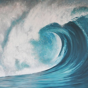 (CreativeWork) Rush - Large Wave  by Naomi Veitch. arcylic-painting. Shop online at Bluethumb.
